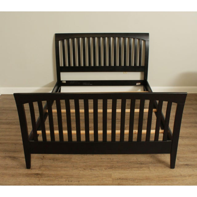 Traditional Ethan Allen American Impressions Queen Size Black Sleigh Bed For Sale - Image 3 of 13