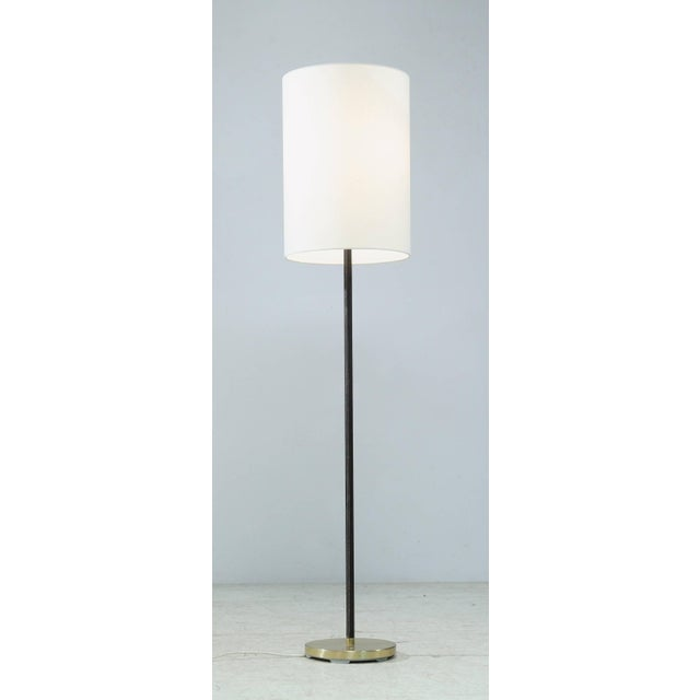 Modern Pair of Minimal Floor Lamps with Leather Stem and Long Shade, Kalmar, Austria For Sale - Image 3 of 6