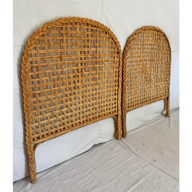 Mid-Century Modern Vintage Woven Braided Rattan Headboards- a Pair For Sale - Image 3 of 13