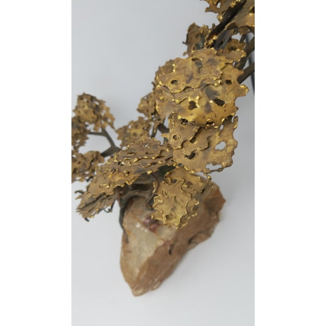 Japanese Curtis Jere Style Bronze Tree on Quartz For Sale - Image 3 of 5