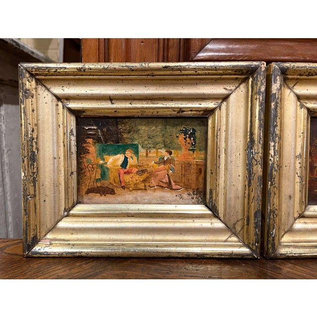 These charming antique paintings were created in France, circa 1870. Set in the original gilt frames, both artworks are...