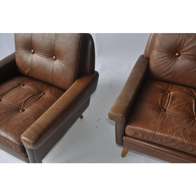 Pair of Svend Skipper Leather Lounge Chairs For Sale - Image 4 of 8