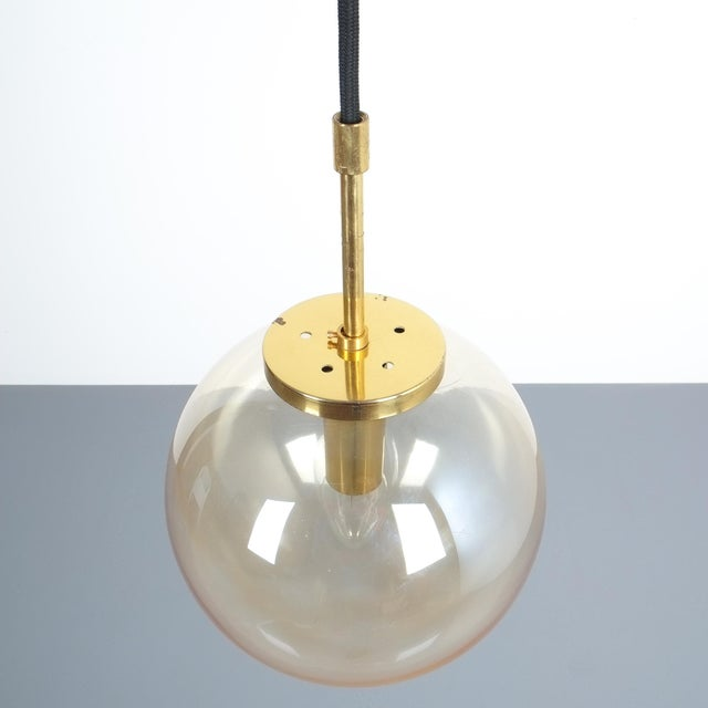 Brass Set of Three Limburg Amber Glass Pendant Lamps, Germany, 1970 For Sale - Image 7 of 8