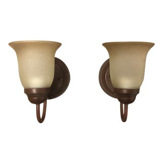 Pair of Bronze Wall Sconce With Frosted Shades For Sale