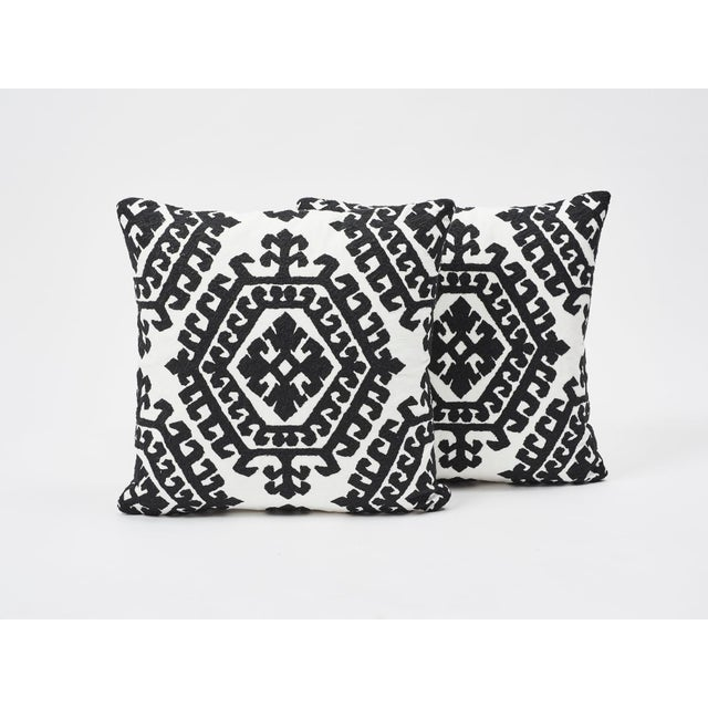 2010s Schumacher Double-Sided Pillow in Omar Embroidery Print For Sale - Image 5 of 6