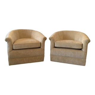 Mid-Century Swivel Club Chairs- A Pair For Sale