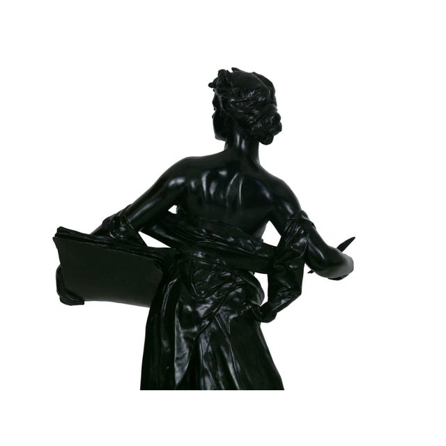 """Antique French Bronze Sculpture """"Science"""" by Edouard Drouot"""" For Sale - Image 12 of 13"""