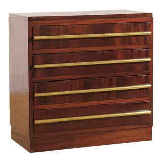 Signed Andre Sornay Chest in Ribbon Mahogany and Brass For Sale