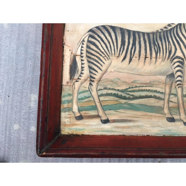 Antique Zebra Painted Wooden Tray For Sale - Image 5 of 11
