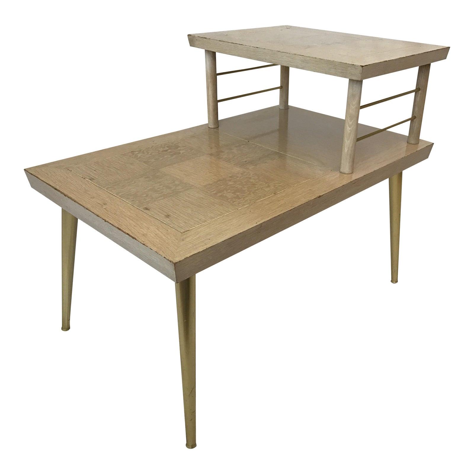 Lane Blonde Coffee Table: 1956 Lane Altavista Blonde Two Tiered Side Table