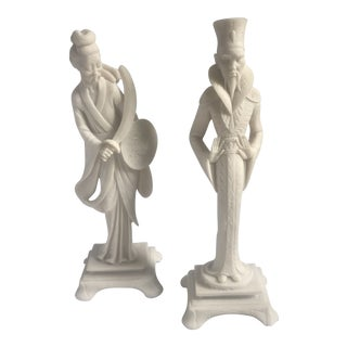 Mid-Century Faux Ivory Chinoiserie Style Figurines - a Pair For Sale