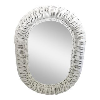 Country Style White Wicker Mirror