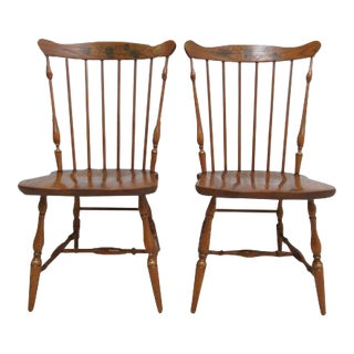 Hitchcock Oak Windsor Back Side Chairs - a Pair For Sale
