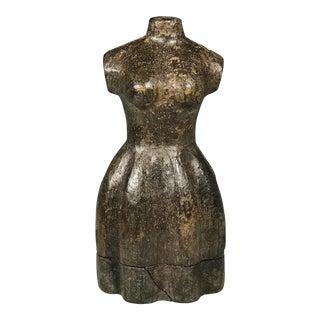 Vintage Carved Wood Dress Form Paper Mache Mold For Sale