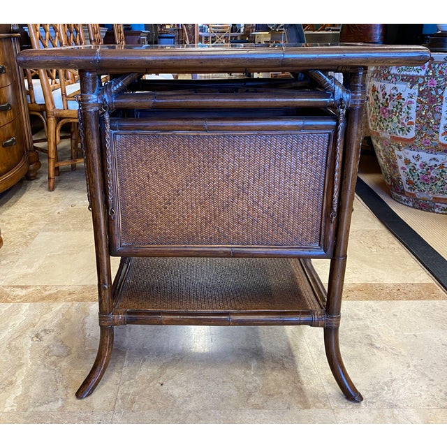Early 21st Century Asian Rattan End Table With Drop Shelves For Sale - Image 5 of 12
