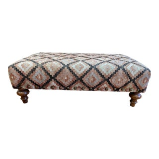Custom Turkish Rug Upholstered Kilim + Nailhead Ottoman For Sale
