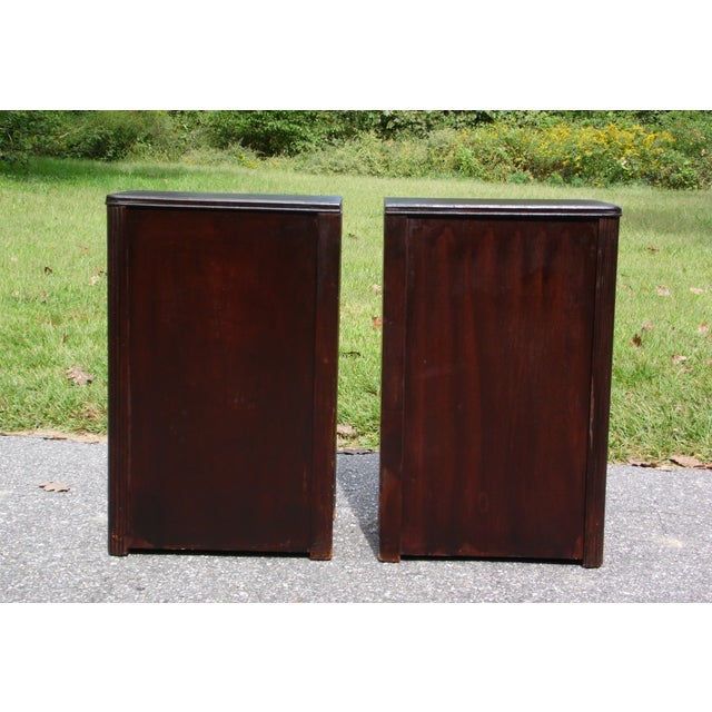 Antique Pair Art Deco Walnut Nightstands End Tables Bedroom Stands For Sale - Image 4 of 13