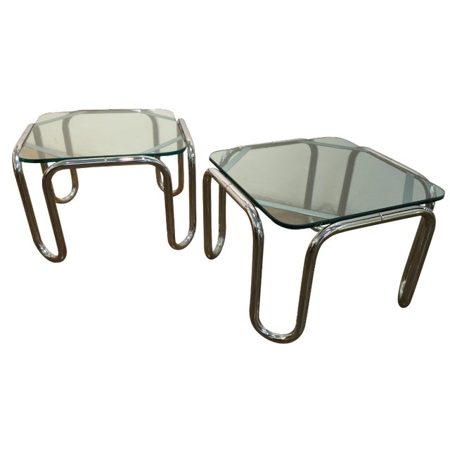 Vintage Chrome & Glass End Tables - A Pair - Image 1 of 6