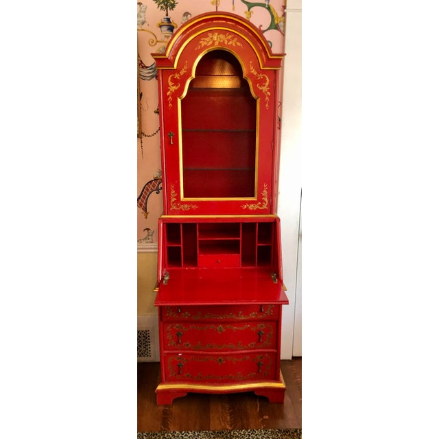 1960s John Widdicomb Red Chinoiserie English Drop Front Secretary Bookcase For Sale - Image 5 of 8