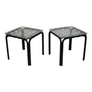 Brown Jordan Lido Aluminum Vinyl Strap Glass Side Table