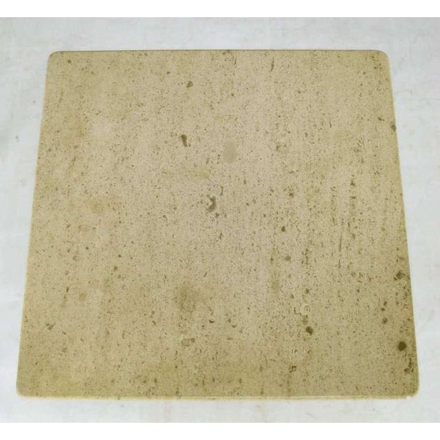 Pair Spanish Revival Maple & Portugese Travertine Side Tables - Image 5 of 7