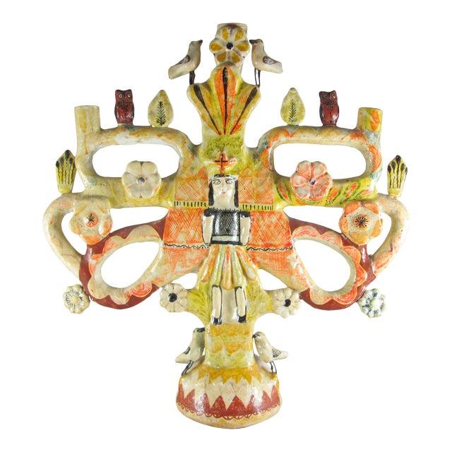 Vintage Aurelio Flores Mexican Folk Art Tree of Life Sculpture For Sale