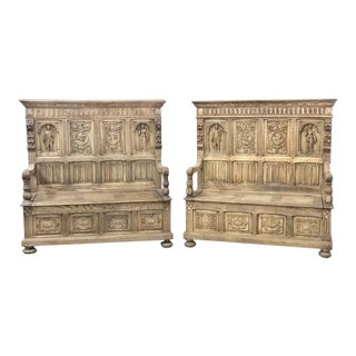 Pair 19th Century Italian Stripped Oak Hall Benches For Sale