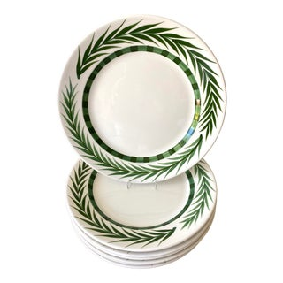 Este Ceramiche Vietri Green Laurel Rim Dinner Plates - Set of 7 For Sale