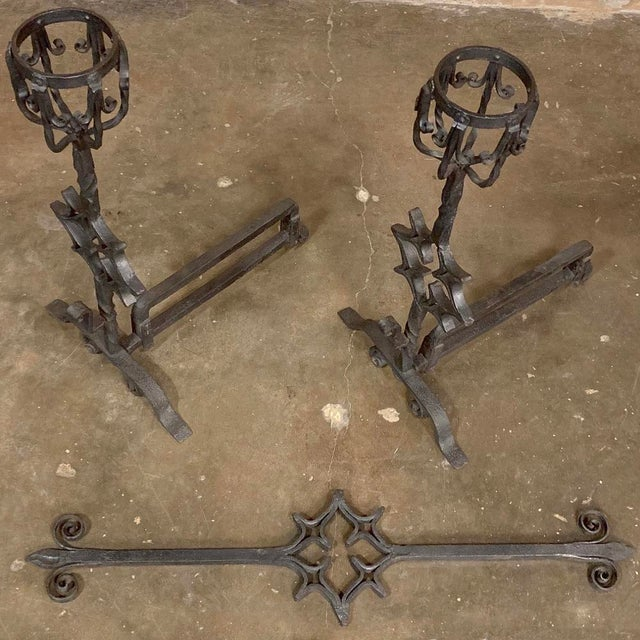 18th Century Grand Wrought Iron Andirons For Sale In Dallas - Image 6 of 13