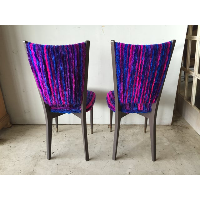 Vintage 1960s Furry Striped Accent Chairs - A Pair - Image 8 of 10