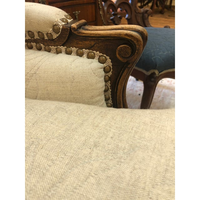 Wood Carved Walnut French Style Club Chair With Quilted Upholstery For Sale - Image 7 of 13