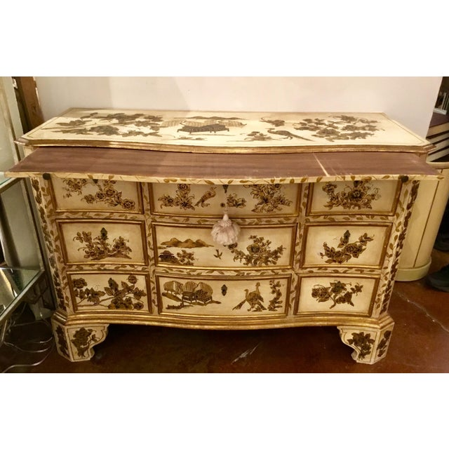 Elegant vintage cream Chinoiserie painted chest, three drawers and a pull out shelf, gold detail, circa, early 1900's