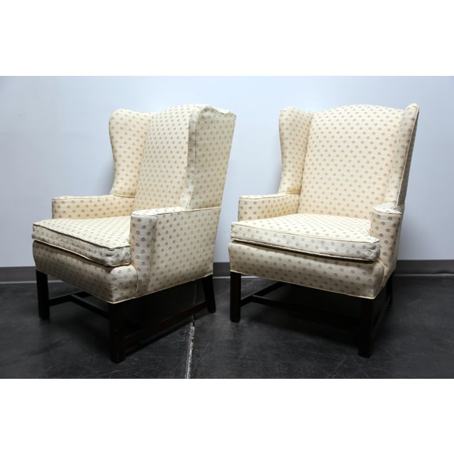 Chippendale Style Mahogany Wing Back Chairs by Conover Chair Co - Pair For Sale - Image 10 of 11