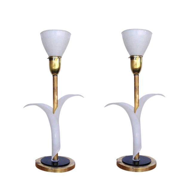 Pair of Sculptural Acrylic Table Lamps by Rembrandt For Sale