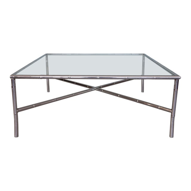 1960s Hollywood Regency Chrome Bamboo Coffee Table For Sale