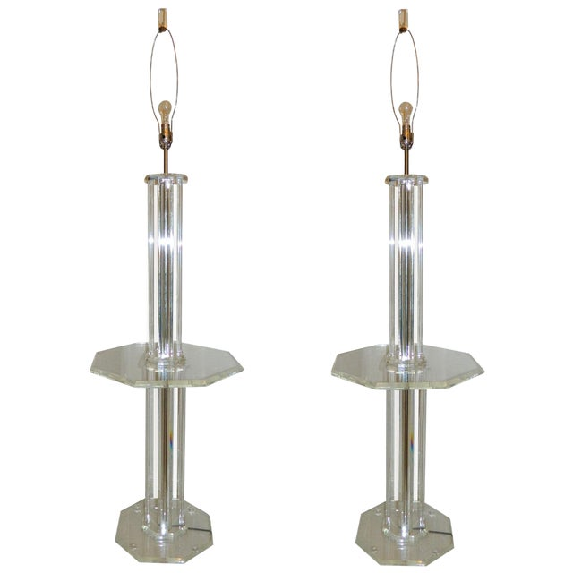 Lucite Floor Lamps - A Pair - Image 1 of 7
