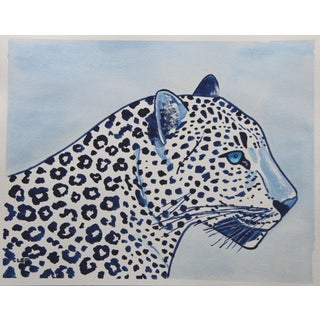 Snow Leopard in Blue Chinoiserie by Cleo Plwden For Sale