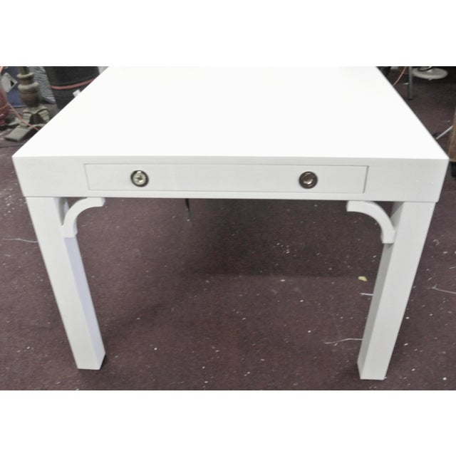 The Boulevard Parsons Dining Table Adds Instant Glamour To Your Dining Room. The Shiny White Lacquered Finish With The...