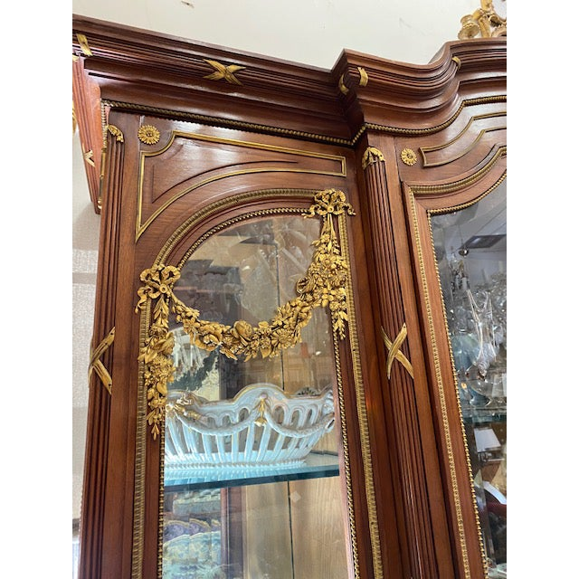 Traditional 19th Century French Brozne Walnut and Bronze China Cabinet For Sale - Image 3 of 13