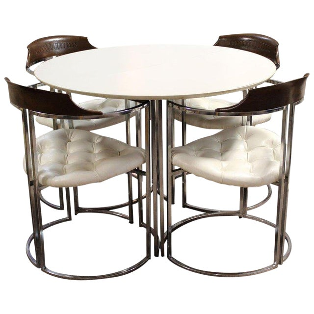 1970s Mid-Century Modern Daystrom Chrome Wood Laminate Dinette Set For Sale