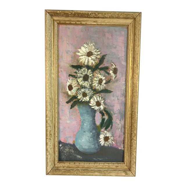 Vintage Floral Soft Pastels Oil Painting For Sale