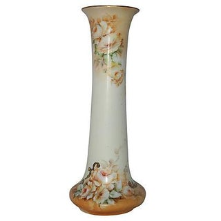 Antique Hand-Painted French-Inspired Porcelain Austrian Vase For Sale