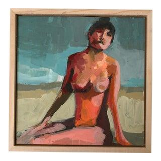 Framed Taboo Beach Figure Mini Acrylic Painting