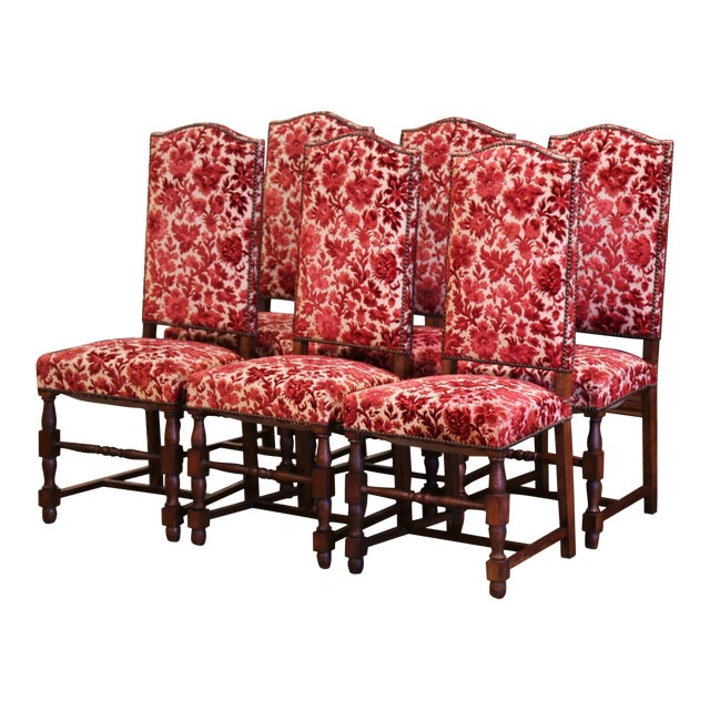 Early 20th Century French Louis XIII Carved Oak Walnut Dining Chairs-Set of Six For Sale