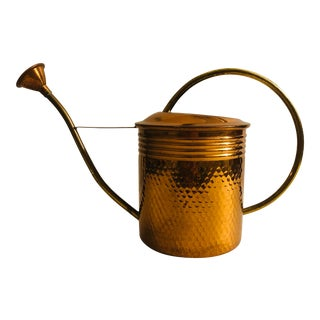 1970s Traditional Copper & Brass Metal Watering Can For Sale