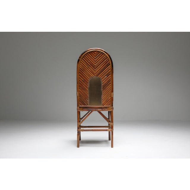 1970s Vivai Del Sud Dining Chairs in Bamboo, Brass & Blue Velvet - Set of 8 For Sale - Image 10 of 13
