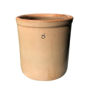 1900s Vintage Brown Ceramic Clay Cream Crock or Planter For Sale