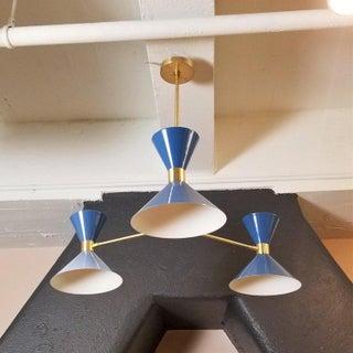 Blueprint Lighting 'Monarch' Modern Brass + Blue Enamel 3-Arm Pendant Preview