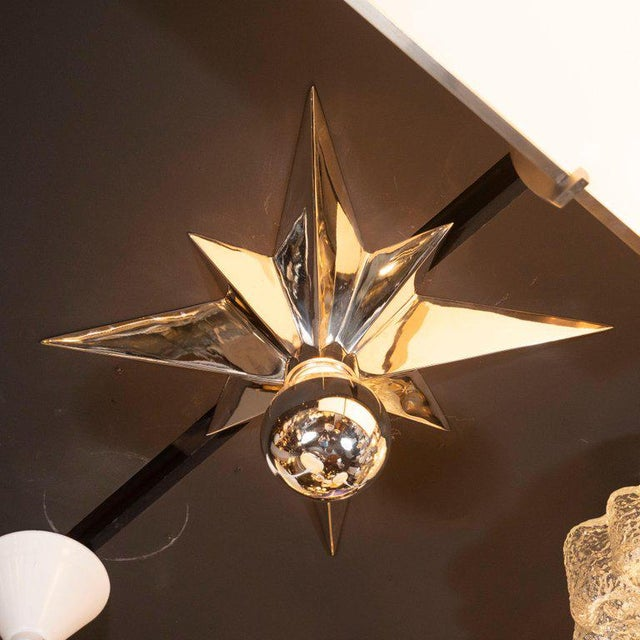 Glass Mid-Century Modern Polished Nickel Star Flush Mounts - Set of 4 For Sale - Image 7 of 10