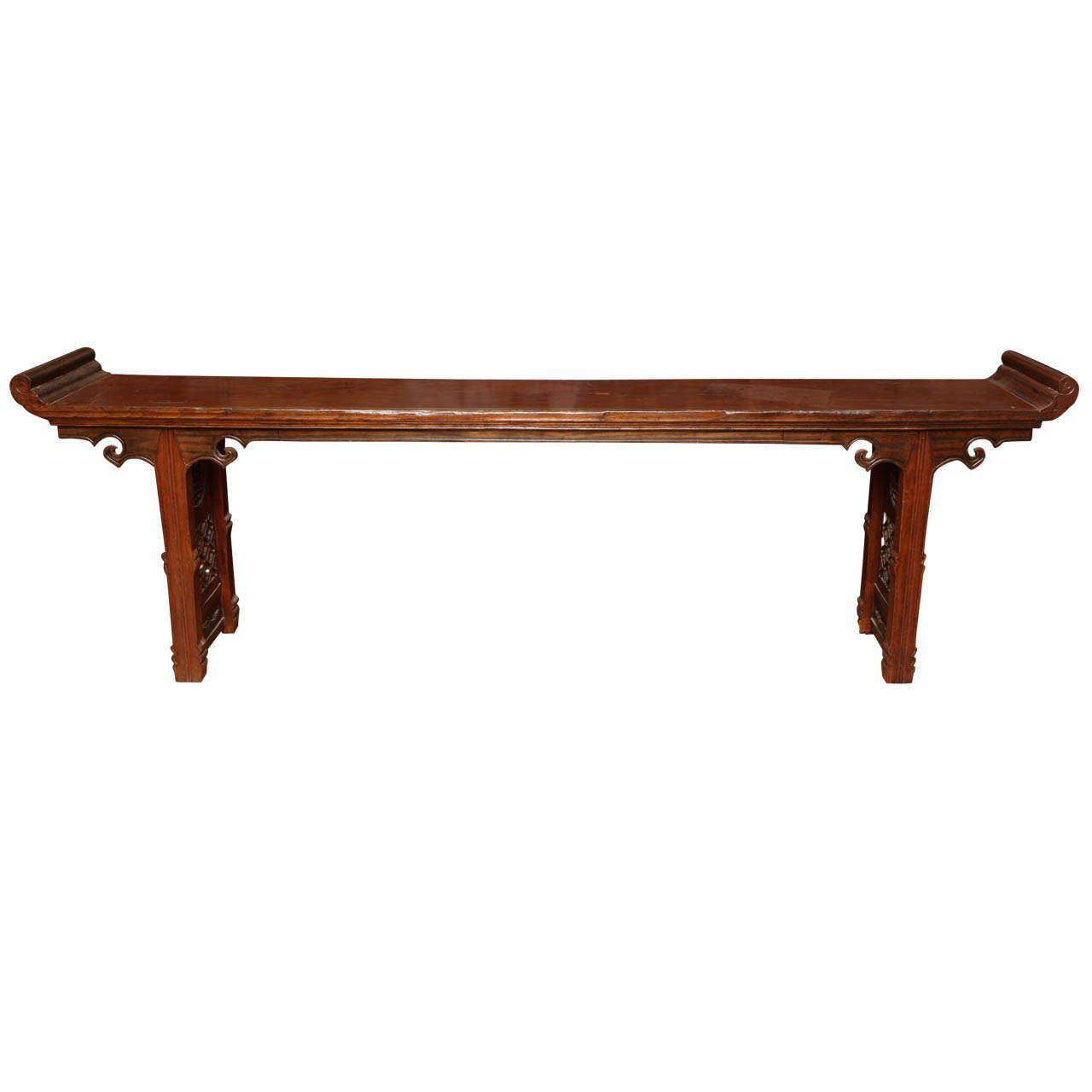 19th Century Chinese Long Carved Wooden Console Table With Fretwork Design  For Sale   Image 11